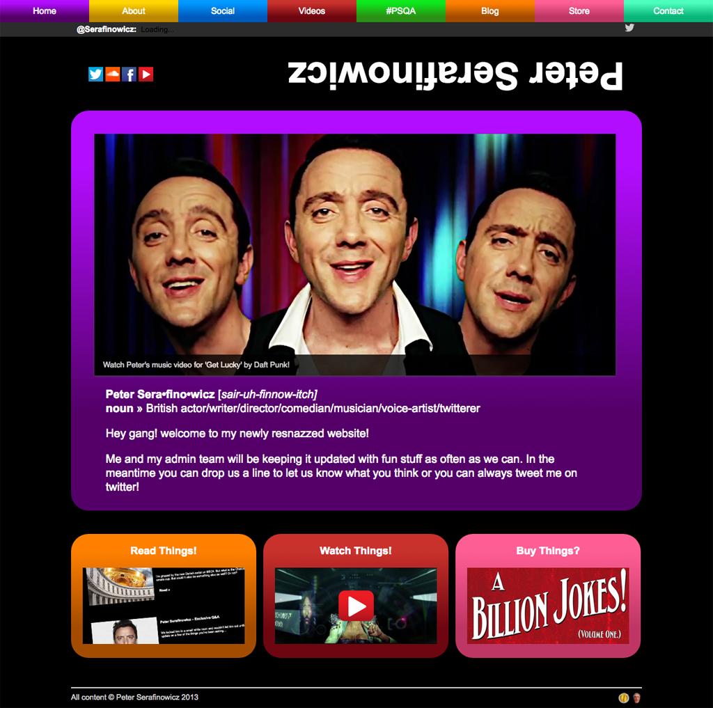 Peter Serafinowicz Website Homepage