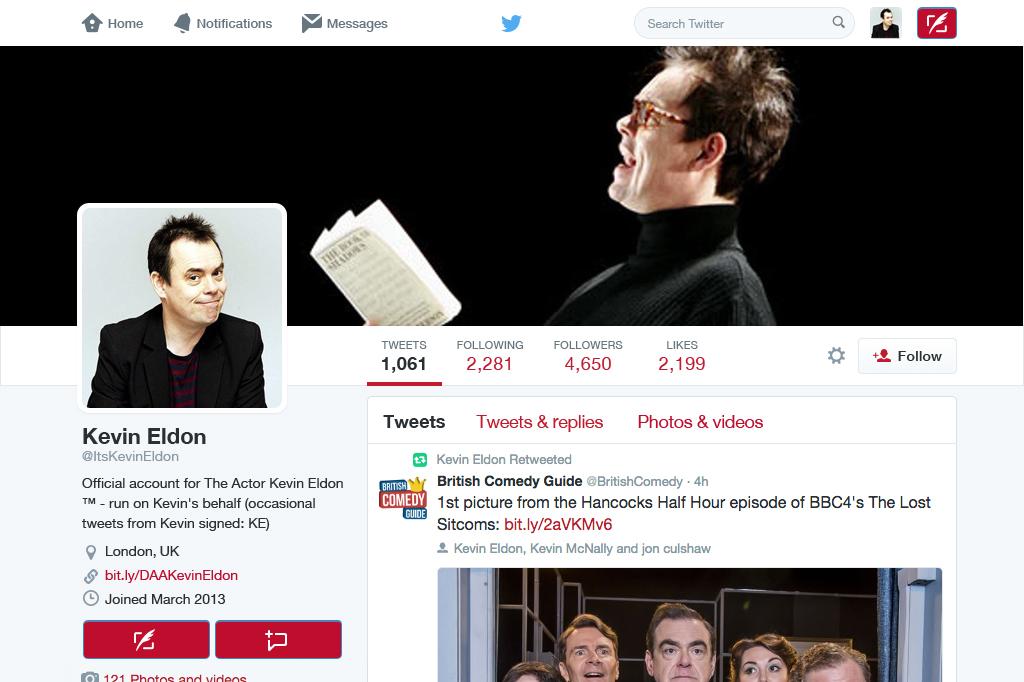 Kevin Eldon twitter profile